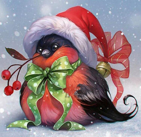 Image of Christmas Bird - DIY Diamond Painting