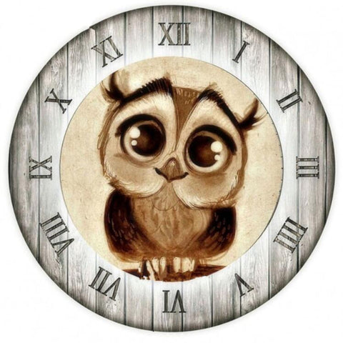 Wooden Owl Clock - DIY Diamond Painting