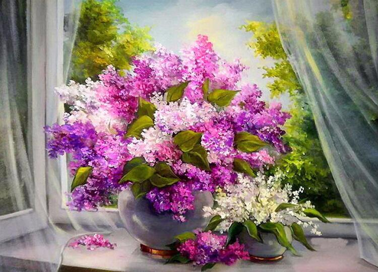 Lilac Flower in the Window - DIY Diamond Painting