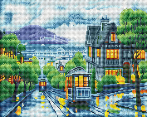 Train in the City - LED DIY Diamond Painting