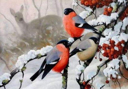 Red Bird in Snow - DIY Diamond Painting
