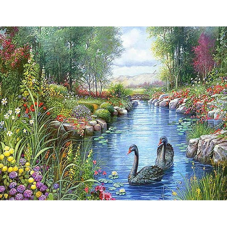 Swans in Forest Lake - DIY Diamond Painting