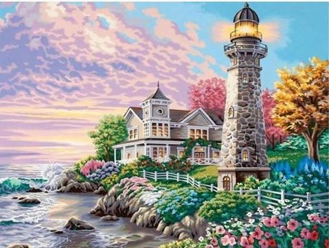 Image of Lighthouse and a Rest House - DIY Diamond Painting