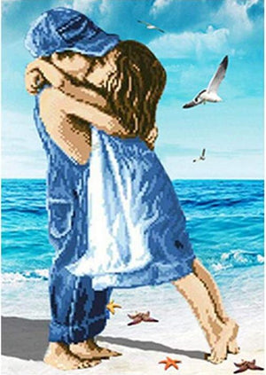 Kids Kissing in a Seashore - DIY Diamond Painting