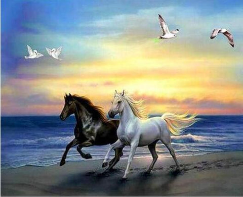 Image of Brown and White Horse in the Seashore - DIY Diamond Painting