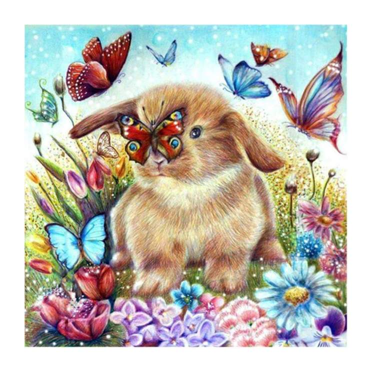 Rabbit Playing with the Butterflies - DIY Diamond Painting
