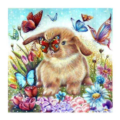 Image of Rabbit Playing with the Butterflies - DIY Diamond Painting