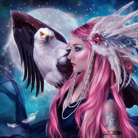 Image of Eagle and a Girl - DIY Diamond Painting