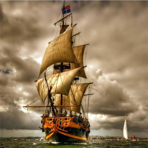 Image of Sailing Ship in Stormy Ocean - DIY Diamond Painting