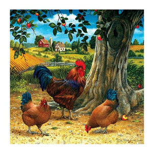 Chickens in a Farm - DIY Diamond Painting
