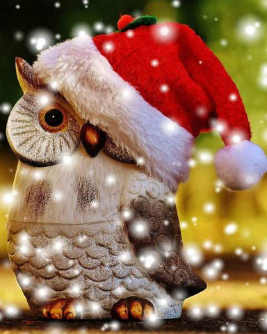Image of Christmas Owl - DIY Diamond Painting
