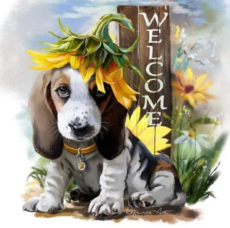 Image of Dog with a Welcome Sign - DIY Diamond Painting