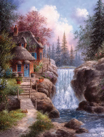 Image of Country House Beside Falls - DIY Diamond Painting