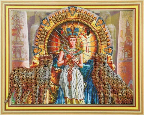 Image of Pharaoh with Leopards -  Glittering 5D DIY Diamond Painting