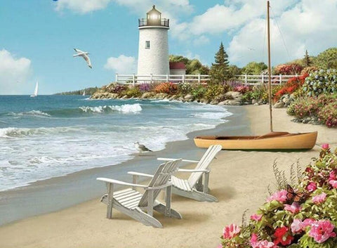 Image of Beach View with Lighthouse - DIY Diamond Painting