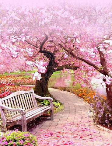 Image of Cherry Blossom Tree in a Park - DIY Diamond Painting