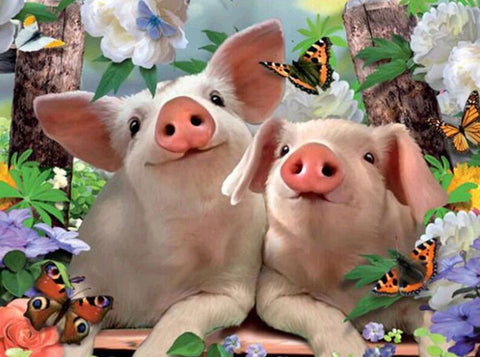Image of Two Lovely Pigs - DIY Diamond Painting