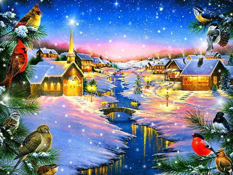 Image of Snowing Village - DIY Diamond Painting