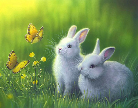 Image of Two Lovely Rabbits - DIY Diamond Painting