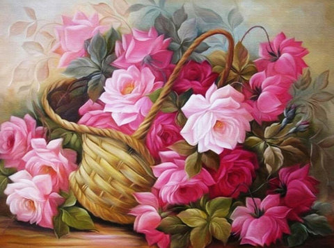 Image of Pink Roses in a Basket - DIY Diamond Painting
