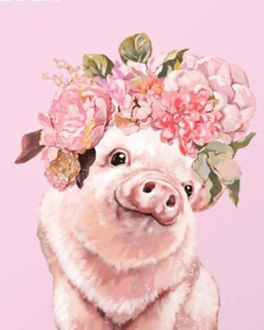 Image of Pig with a Flower Crown - DIY Diamond Painting