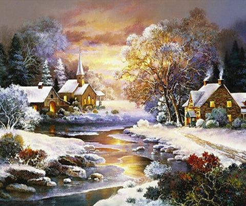 Image of Village Covered in Snow - DIY Diamond Painting