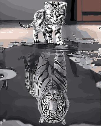 Image of Cat with Tiger Reflection - DIY Diamond Painting