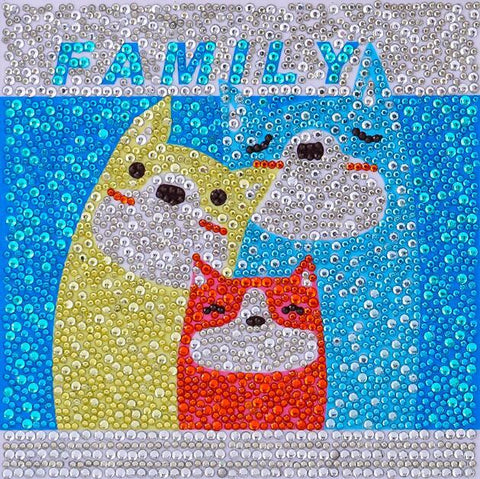 Image of Dog Family - DIY Diamond Painting for Kids