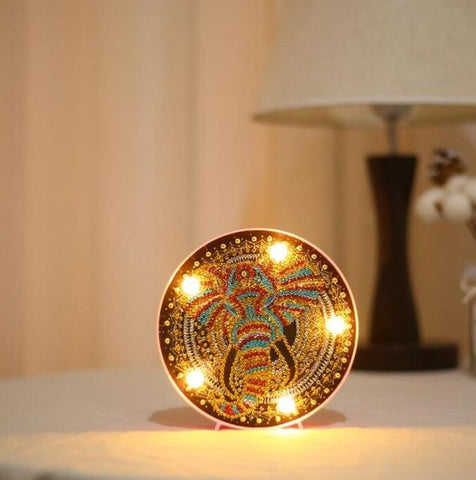 Elephant - DIY Diamond Painting LED Lamp