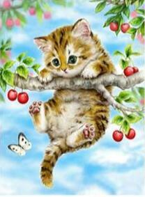 Image of Swinging Cat in a Branch - DIY Diamond Painting