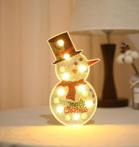 Image of Snowman - DIY Diamond Painting LED Lamp
