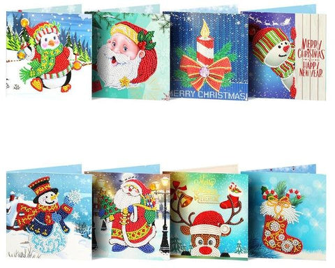 Image of Christmas Set #5 (8pcs) - DIY Diamond Painting Christmas Cards