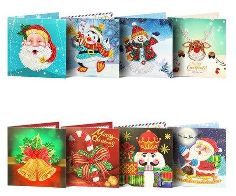 Image of Christmas Set #3 (8pcs) - DIY Diamond Painting Christmas Cards