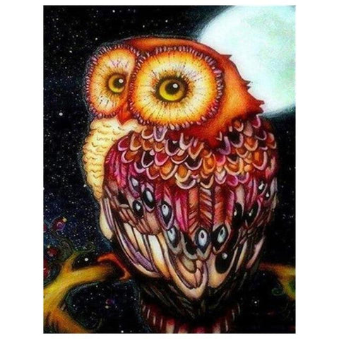 Image of Owl Under the Moonlight - DIY Diamond Painting