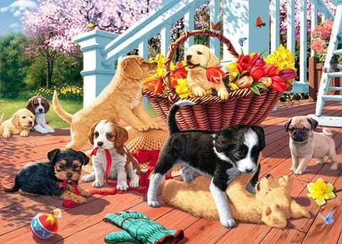 Image of Puppies in the Balcony - DIY Diamond Painting