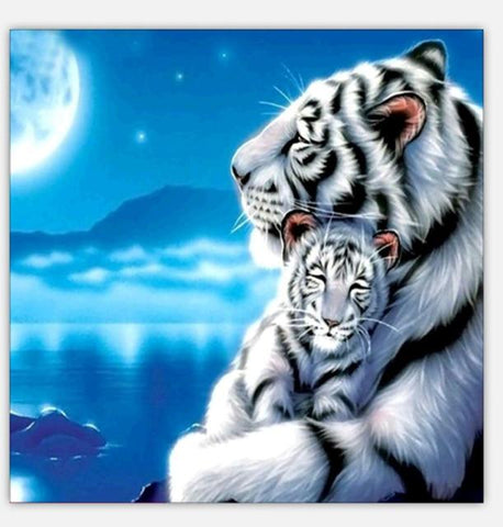 Image of Mother and Baby Tiger - DIY Diamond Painting