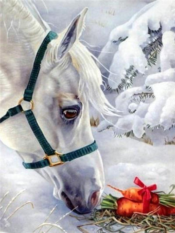 Image of Horse Eating Carrots - DIY Diamond Painting