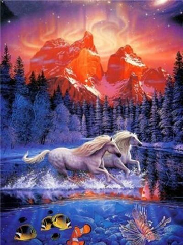 Image of Horse with a Forest View - DIY Diamond Painting
