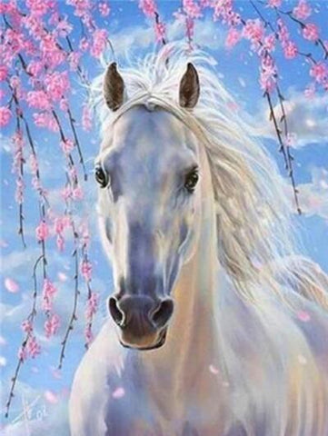 Image of White Horse in Cherry Blossom - DIY Diamond Painting