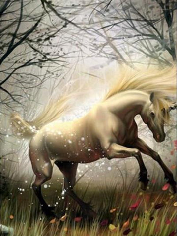 Image of Unicorn in Windy Forest - DIY Diamond Painting