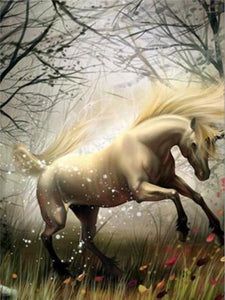 Unicorn in Windy Forest - DIY Diamond Painting