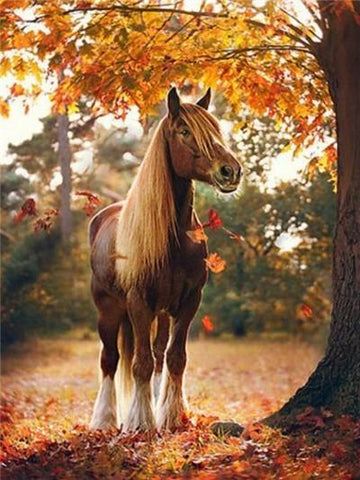 Horse in Autumn Forest - DIY Diamond Painting