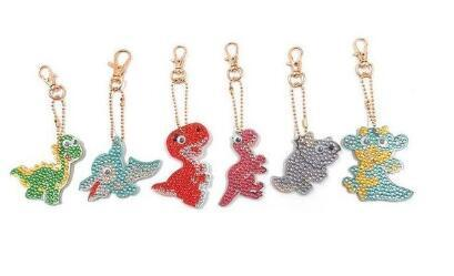 Image of Dinosaurs (5pcs) - DIY Diamond Painting Keychain