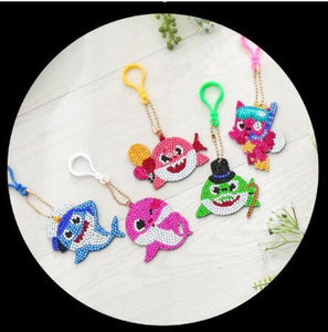 Baby Shark (5pcs) - DIY Diamond Painting Keychain