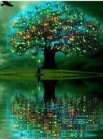 Image of Glowing Tree in a Lake - DIY Diamond Painting