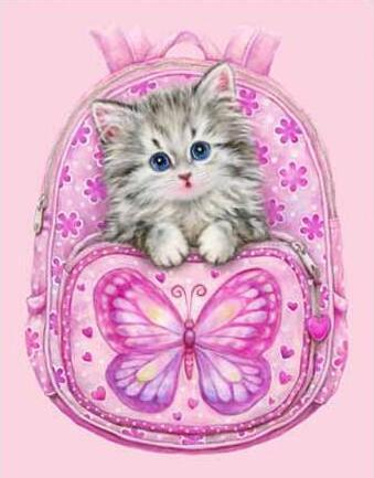 Kitten in a Pink Bag - DIY Diamond Painting