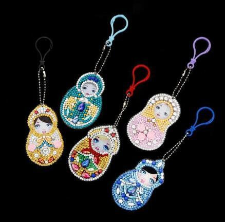 Matryoshka Doll (5pcs) - DIY Diamond Painting Keychain