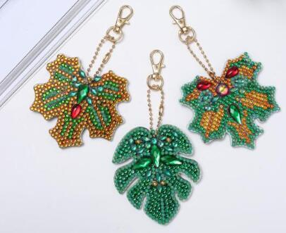 Image of Leaves (5pcs) - DIY Diamond Painting Keychain
