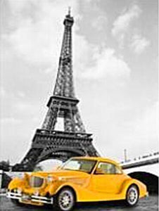Eiffel Tower and a Yellow Car - DIY Diamond Painting