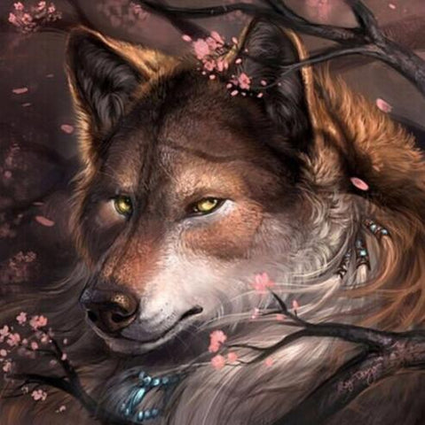 Image of Wolf in Blossom - DIY Diamond Painting
